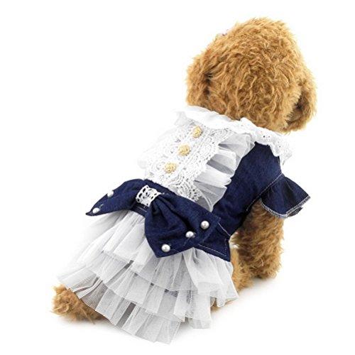 zunea Welpen Hund Katze Denim Kleid Schleife Weiß Tutu Tüll Puppy Rock Sommer Kleidung (Cute Tüll Weiß Tutu)