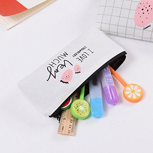LUFA Sacchetto della matita del sacchetto della penna di immagazzinamento della borsa della moneta della carta del raccoglitore della tela di canapa della zucca di stampa di frutta per le studentesse  Melograno