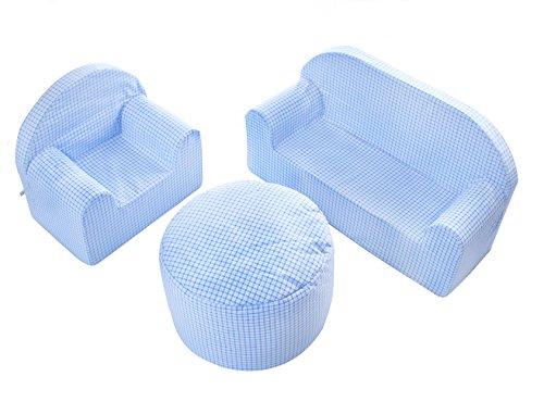 Babyblume Polstermöbel Sitzgruppe Kindermöbel Pikolo in verschiedenen Farben (Blau Kariert) - 2