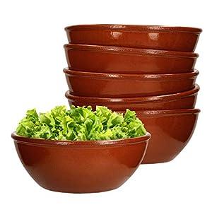 MamboCat 6er-Set Servier-Schale Ø 15cm Ton-Geschirr braun glasiert 650 ml Suppen-Schüssel Salat-Schälchen für Snacks & Antipasti mediterrane Küche Gastro