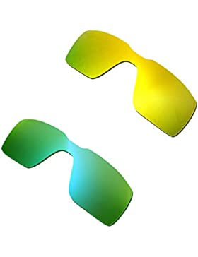 Hkuco Plus Mens Replacement Lenses For Oakley Probation 24K Gold/Emerald Green Sunglasses
