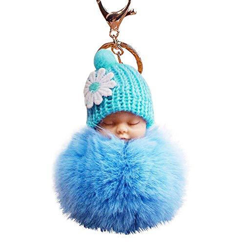 gaddrt 8cm Pompon niedlicher Fell Flauschig Schlafendes Baby Puppe Schlüsselanhänger Schlüsselanhänger Staubbeutel Charm Anhänger - Computer-adresse Labels