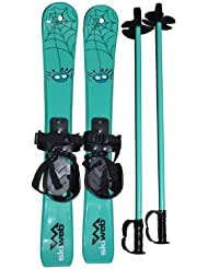 Plastic Skis For Kids & Toddlers Freddie Ski Spider Matching Poles - Age 2 - 4