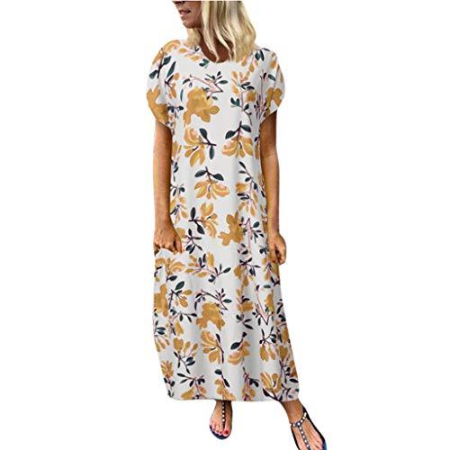 Weiblich Sexy Kurzarm Langes Kleid,Luotuo Freizeit Lose Sommerkleid Retro Blumen Kleid Urlaub Strand Maxikleid Partykleider
