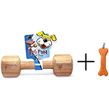 Goofy Tails Wooden Dumbbell Dog Toy with Key Chain (Large, Light Brown)