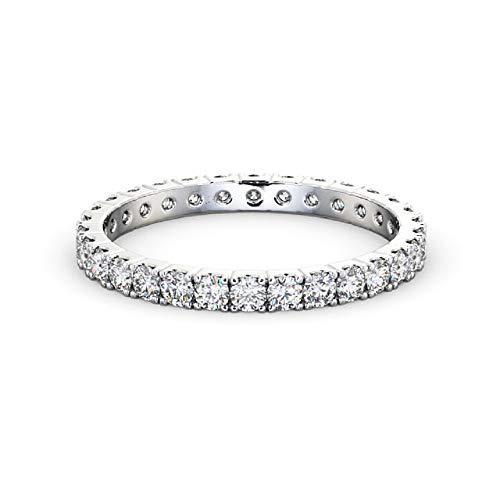 Anello di fidanzamento in oro bianco 18 k con diamante rotondo da 1,00 carati e oro bianco, 47 (15.0), cod. cjolr0100.1