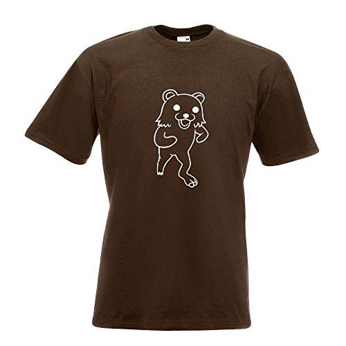 KIWISTAR - Pedobär / Pedobear laufend T-Shirt in 15 verschiedenen Farben - Herren Funshirt bedruckt Design Sprüche Spruch Motive Oberteil Baumwolle Print Größe S M L XL XXL Chocolate