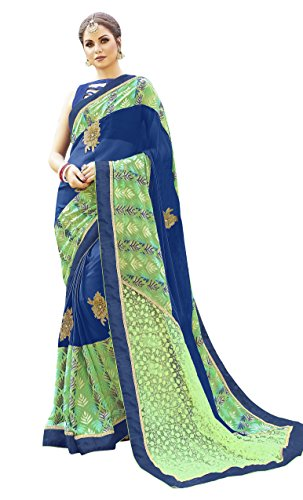Women'S Green,Blue Color Brasso Georgette Embroidered Woven Saree
