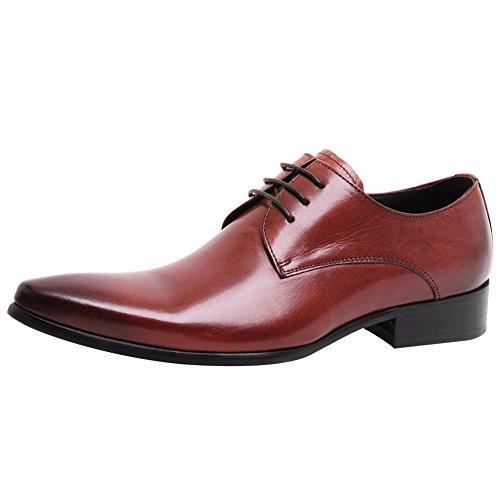 Jamron Hommes Haut de Gamme Douane Derby Dentelles Cuir Véritable Pointé Formel Chaussures Oxford dAffaires Marron