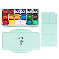 Arrtx AJG-001 Gouache Paint Sets with Jelly Cup Design, 18 Colors ×30ml in a Plastic Box with a Palette, Suitable for Students, Hobbyist, Artist (Mint Green)