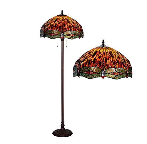 YDYG 18-Zoll-Tiffany-Stil Bodenlampe, Europäische Retro-Glas-Libelle-Boden Uplighter Art Dekoration Wohnzimmer Schlafzimmer Stehendes Licht