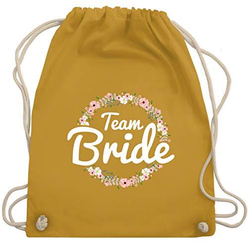 JGA Junggesellinnenabschied - Team Bride Blumenkranz - Unisize - Senfgelb - WM110 - Turnbeutel & Gym Bag