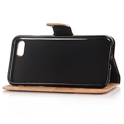 5,5 zoll iPhone 7 Plus Schutzhülle, TechCode® Bunte Retro Muster Druck Flip PU Leder Tasche Case Hülle im Bookstyle mit Kartenfächer Hülle Case für Apple iPhone 7 PLUS 5,5'' (iPhone 7 Plus, A04) A04