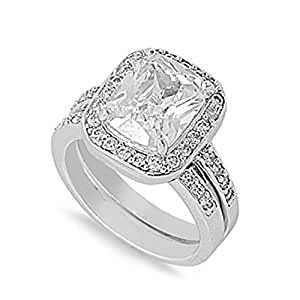 Little Treasures Rhodium Plated Sterling Silver Wedding & Engagement Ring Emerald Cut Solitaire Ring Set 10MM