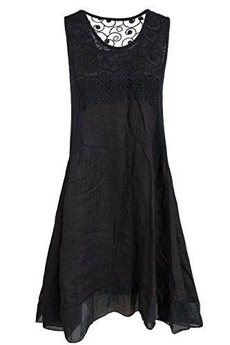 GS-Fashion Leinenkleid A-Linie Damen Sommer mit Spitze KLeid ärmellos knielang A-Form Ver2-Schwarz 46