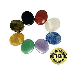 Chakra Steine 8PCS KIT, ovale Form, für Crystal Healing Meditation, Reiki oder als Handschmeichler oder Palm Daumen Pocket Steine (Set of 8Oval Form Steinen)