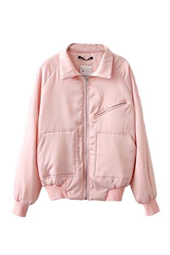 Les Femmes Élégantes Se Fermer D'épaisseur Hiver Matelassé Col Plein Les Poches De Manteau Avec Un Insigne Une Veste D'aviateur pink