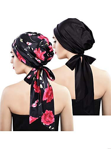 2 Stücke Weich Satin Kopftuch Schlafen Mütze Bonnet Kopfbedeckung Kopf Abdeckung Turbane für Damen (Set 1)