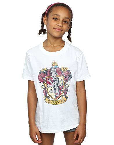 Harry Potter Mädchen Gryffindor Distressed Crest T-Shirt 9-11 Years Weiß