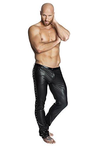 Preisvergleich Produktbild NOIR HANDMADE Men - Kunstleder Hose im Jeansschnitt mit aufgesetzten Zierstreifen mit Nieten, schwarz, Größe: S, 1 Stück