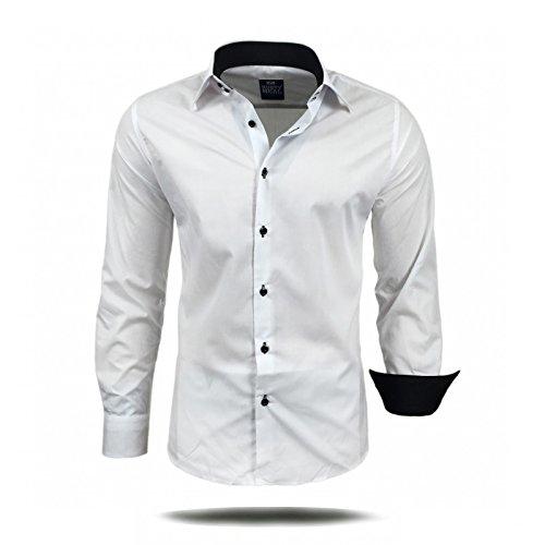 Herren Hemd Hemden Business Hochzeit Freizeit Slim Fit Bügelleicht S M L XL XXL, Größe:S;Farbe:Weiß / Schwarz