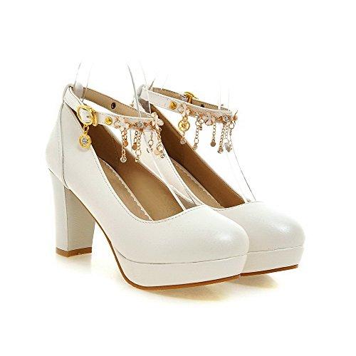 Voguezone009 Femmes Bout Fermé Bout Rond Talon Haut Simili-cuir Suede Pure  Ballet Ballerines Blanc ... 1af354286772