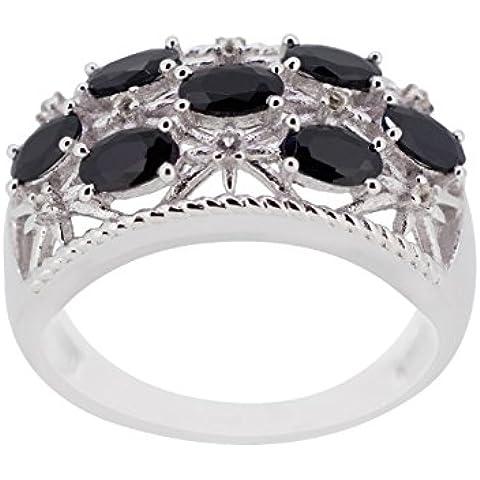kamya–Anello da donna in argento 925rodiato con spinello nero r3076bksp