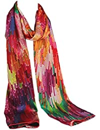 Prettystern P148 - LUXUS 180cm X 60cm handrolled heavy satin 10% silk long scarf - Fantasia Color Crash