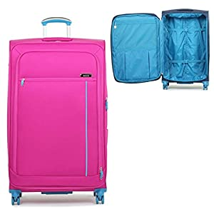 Ultra Light Expandable 4 Wheeled Spinner Luggage Suitcase Soft Case R2B1 Pink