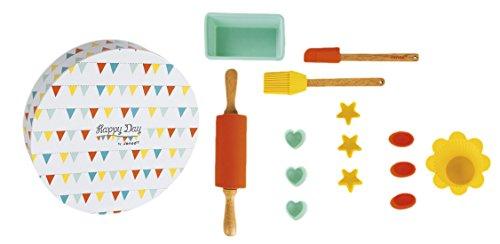 Janod – Jouet en Bois – Cuisine Enfants Genoise Kit Kit de Pâtisserie Biscuit – Happy Day de couleurs pastel, menthe, multicolore