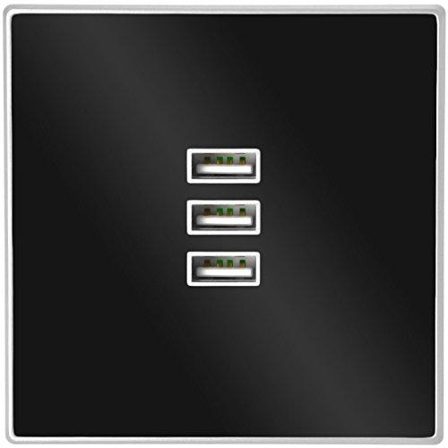 3x Minadax® Cargador USB | Enchufe Estándar Montado Enrasado | Para Smartphones,...