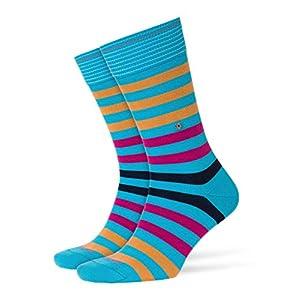 BURLINGTON Herren Socken Blackpool – 80% Baumwolle, 1 Paar, Versch. Farben, Einheitsgröße (40-46) – Moderner Strumpf mit Blockstreifen