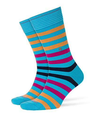 Burlington Herren Blackpool Gestreift Baumwolle 1 Paar Casual Socken, Blickdicht, türkis (Aqua 6891), 40/46 -