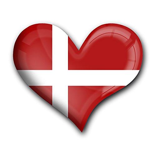 """Top Kühlschrank-Magnet aus Metall mit starkem Neodym-Magnetem und hochglänzender Kunstharzbeschichtung in Herz-Form """"Flagge Dänemark"""" von metALUm - tolles Geschenk für Dänemark - Fans"""