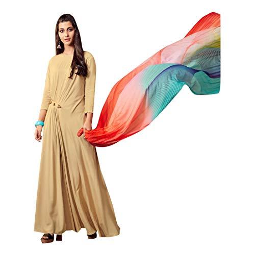 Rayon Abaya Style Salwar Kameez Anzug in Beige gebrauchsfertig pakistanische Kurti indische Frauen 7519