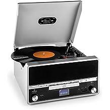 auna RTT 1922 cadena estéreo retro con tocadiscos (reproductor CD, MP3, USB, radio FM, entrada AUX, digitalizador vinilo) - plateado