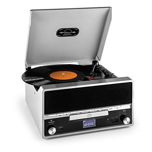 Auna RTT 1922 Stereo Giradischi Retrò (MP3, CD, USB, AUX, Radio FM, Uscita RCA, Velocità di Riproduzione Supportate 33, 45 U/min, Azionamento a Cinghia, Display LCD, Commutabile X-Bass, Registrazione da CD e Vinili su USB, Tag ID3) Argento