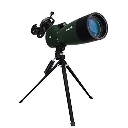 Svbony SV28 Spektiv 25-75x70 IP65 Wasserdicht 45 Grad abgewinkelt Okular BAK-4 mit Stativ und Handy Adapter für Vogelbeobachtung Sportschützen Himmelsbeobachtung