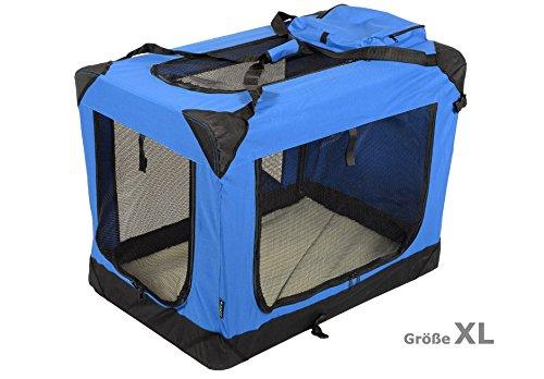 Jespet Hundetransportbox faltbar - soft Transportbox für Tiere– klappbare Transporttasche Hunde, Katze & Kleintier XL Royalblau