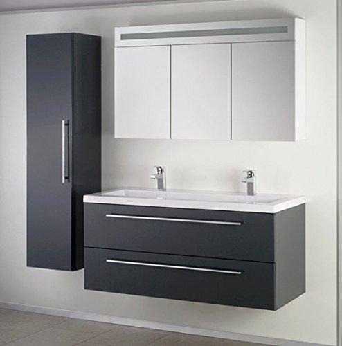 Luxus Badezimmermöbel Badmöbel bestehend aus Unterschrank, Waschbecken aus Kunstmarmor, Hängeschrank und Spiegelschrank mit Beleuchtung (anthrazit)