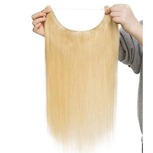 Extension capelli veri fascia unica con filo trasparente one piece wire in no clip 100% remy human hair naturali lisci lunga 50cm pesa 70g, #613 biondo chiarissimo