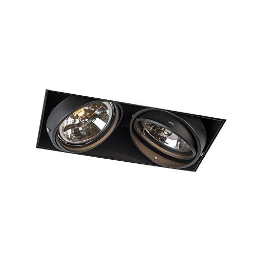 QAZQA Moderno Focos empotrados ONEON 2 111 sin marco negro Metálica Rectangular...