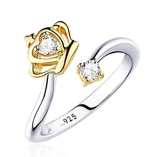 ing Silber Ton Valentine Lieben Paar Paare Hochzeit Engagement Verlobungsringe Verlobung für Frauen und Mädchen ,Krone Golden (Valentine Paar Outfits)