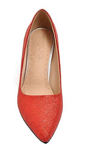 AgooLar Femme à Talon Haut Tissu à Paillette Couleur Unie Chaussures Légeres Rouge