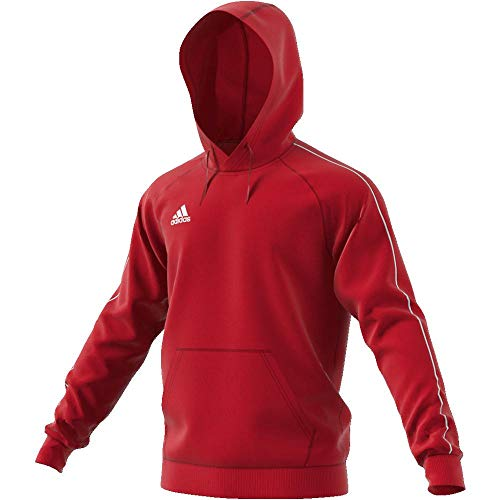 Adidas CORE18 Hoody Sweat-Shirt Homme, Power Red/White, FR : L (Taille Fabricant : L)