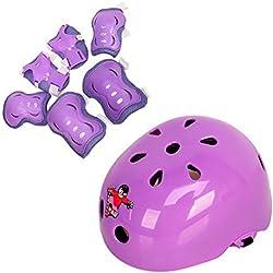 Equipo de protección para niños, juego de 7 piezas con casco, rodilleras, coderas, muñequeras, para deportes sobre ruedas, patinaje en hielo, patinaje, ciclismo, motociclismo BMX, color morado, tamaño Small 3-5 years old