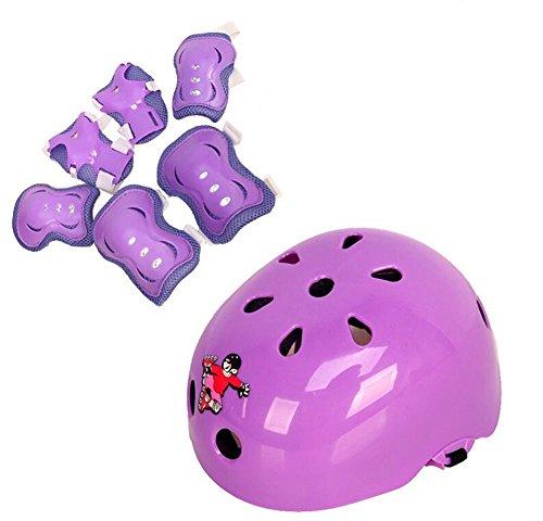 Schutzausrüstung für Kinder 7-teiliges Set inkl. Helm Knieschützer Ellenbogenschützer und Handgelenkschützer geeignet für Roller-Skating Skateboard