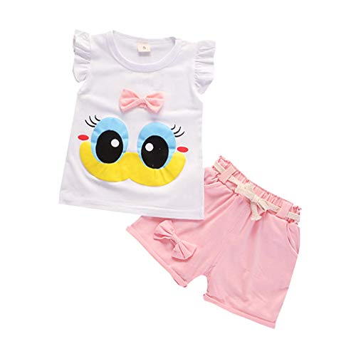 Allegorly Kleinkind Baby Kinder Mädchen Sommer Kleidungs Outfits Baumwolle Shorts Cartoon große Augen niedlich Bogen Knoten Tops und Kurze Hosen Schlafanzug Outfits Sets Kleidung 0-4T