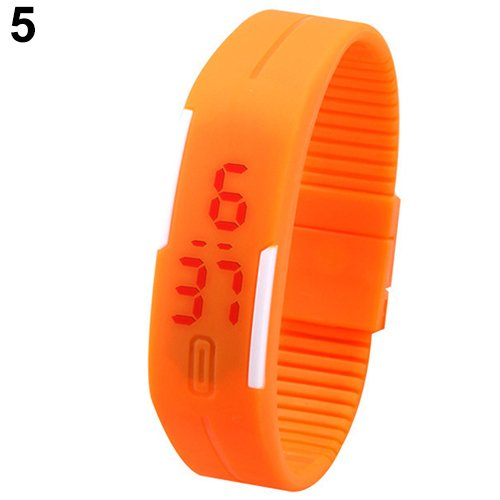 K3 Fashion Ultra Thin LED Watch Unisex Digital Sports Watch For Men Women Kids_ORANAGE