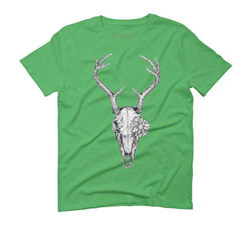 Deer Skull Flower Men's Graphic T-Shirt - Design By Humans Green